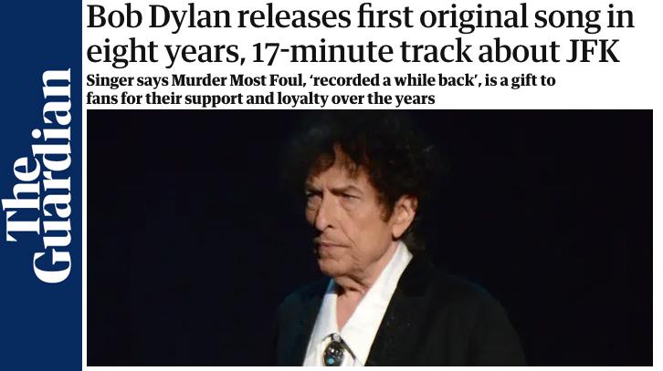 Murder Most Foul: Dylan pubblica un nuovo singolo dopo 8 anni.
