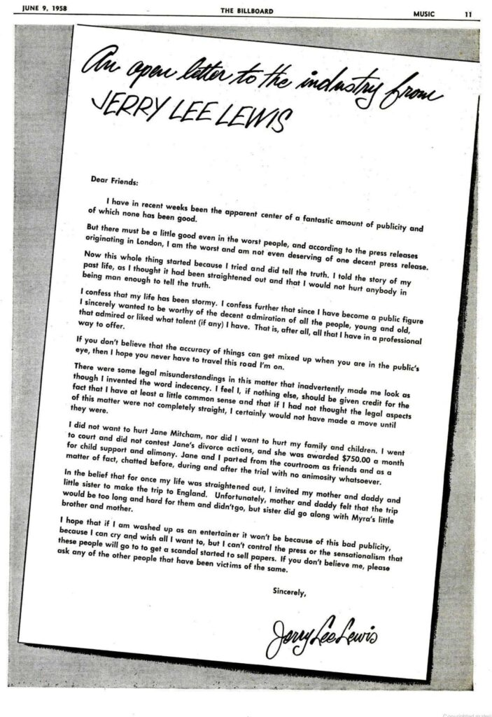 Apologize letter jerry lee lewis a1958