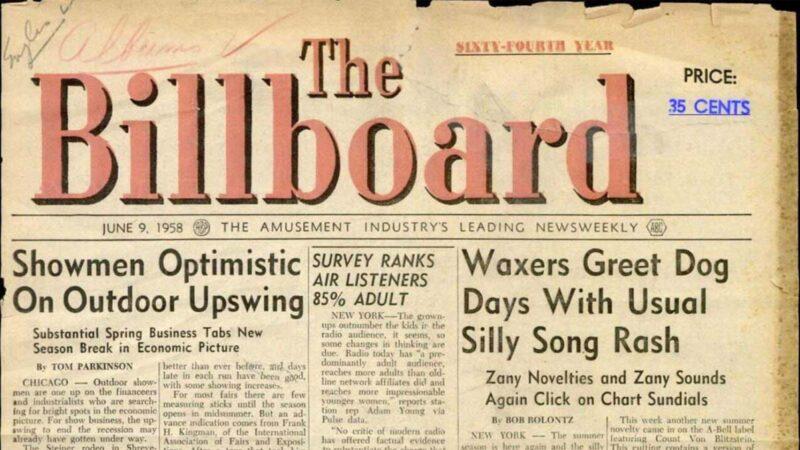 Una copia di BillBoard del 9 giugno 1958